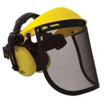 Защитный щиток, металлическая сетка с наушниками для работы с бензопилой и мотокосой